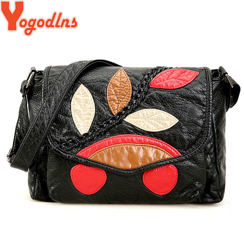 Yogodlns Herald Fashion Leaves Decorated Mini Flap Bag Soft PU Leather Small Women Shoulder Bag Ladies Black  Messenger Bag