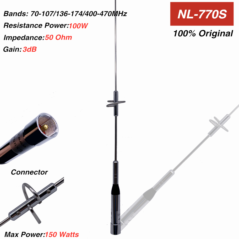 1 Set Nagoya NL-770S Walkie Talkie Antenna + 5M Coaxial Cable + Stainless Steel Clip Mount + Four Fine Copper Connector Adapter