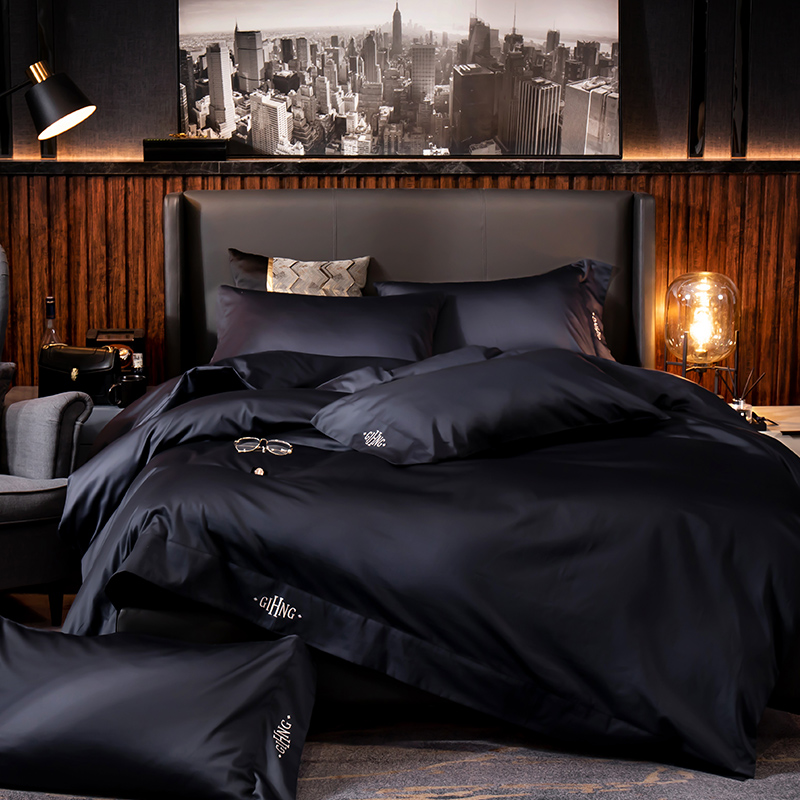 Black <font><b>egyptian</b></font> <font><b>cotton</b></font> <font><b>Bedding</b></font> <font><b>sets</b></font> Queen King size Embroidery Bed <font><b>Duvet</b></font> cover Bed sheets/fitted sheet linen <font><b>set</b></font> hotel bed <font><b>set</b></font> image