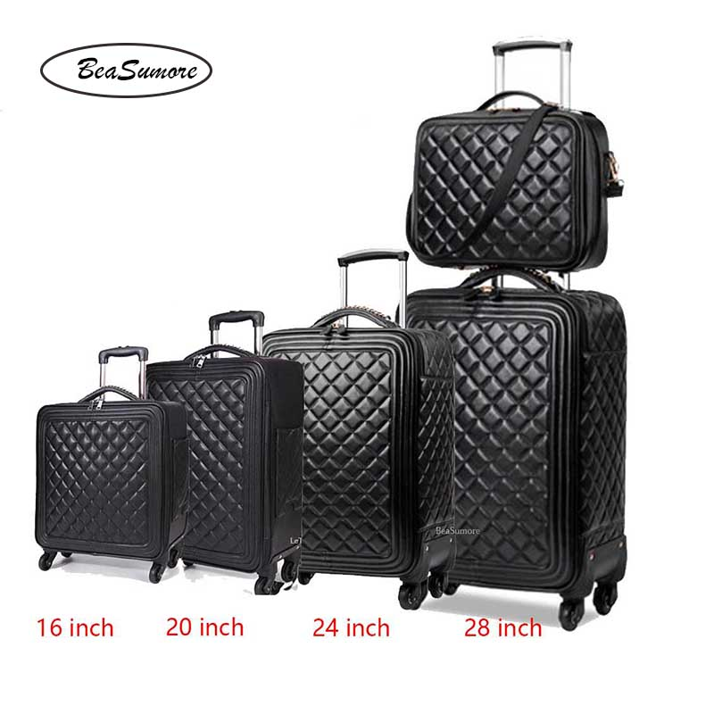 BeaSumore Retro PU Leather Rolling Luggage Sets Spinner 28 inch Women High capacity Suitcase Wheels 20 inch Men Cabin Trolley