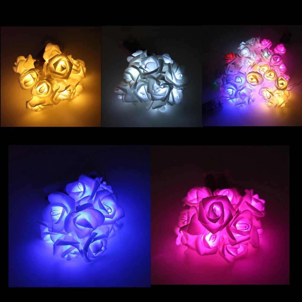 Cadena de luces 20 LED acrílico bolas de piel rosa flor lámpara para interior exterior jardín Navidad Fiesta luces Festival USB carga