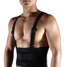 Men Medical Lumbar Fitness Nylon Adjustable Waist Support Belt Breathable Weightlifting Running Back With Shoulder Straps