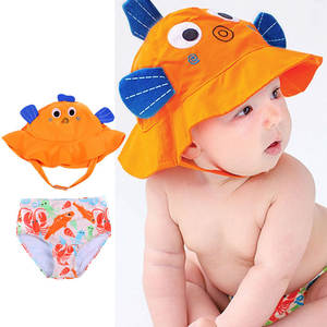 Swimsuit Sun-Protection Baby/toddler Girls Boys Cute Set-With Diaper-Set Sun-Hat Sun-Hat