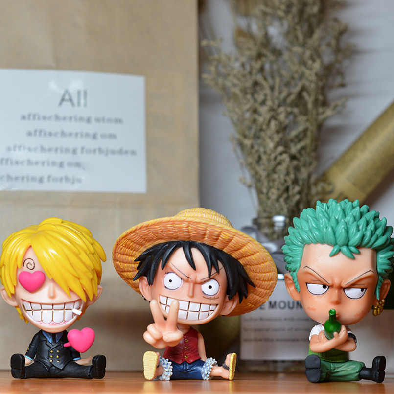 Japanese Anime Q Version One Piece GK Roronoa Zoro Luffy Sanji BROOK Nami PVC Action Figure toys zoro luffy Decoration model toy