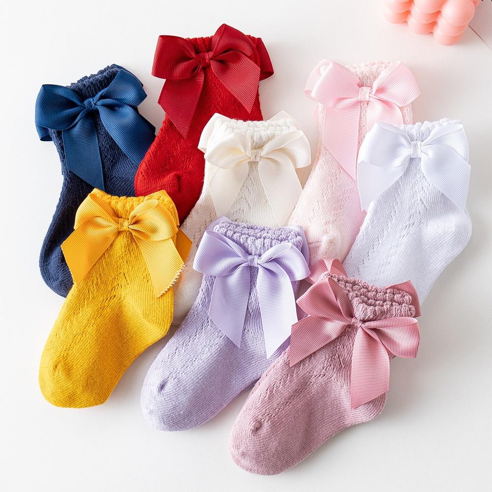 Дышащие Мягкие Носки из хлопка для новорожденных, летняя обувь с бантиком, носки для малышей однотонные Цвет платье принцессы для маленьких девочек, детские носки, противоскользящие короткие носки От 0 до 5 лет Носки      АлиЭкспресс
