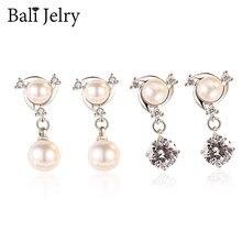 BaliJelry Fashion Pearl kolczyki biżuteria ze srebra próby 925 kamień cyrkonowy spadek kolczyki dla kobiet ślub przyjęcie zaręczynowe akcesoria