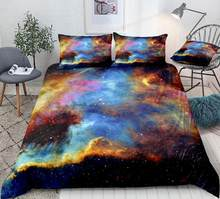 3pcs Galaxy Duvet Cover Set Nebula Cosmic Space Bedding Stars Blue Cosmic Abstract Quilt Cover Queen Bed Set Colorful Dropship(China)