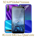 Смартфон Global X2, 6,0 дюйма, 4 + 64 ГБ, 2Sim, IPS, 13 МП, HD