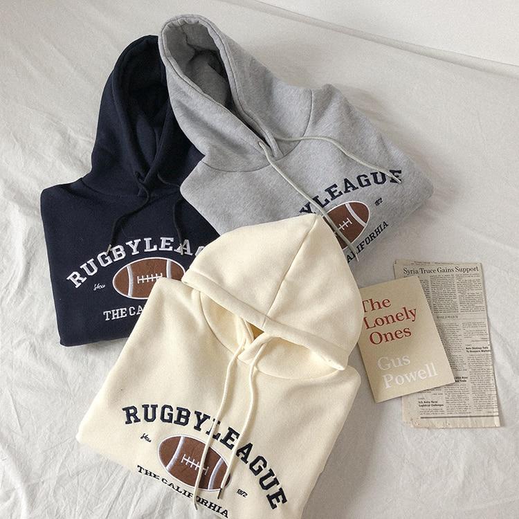 Rugby Fleece Women Hoodie Beige Gray Blue Loose Casual Korean Style Sweatshirt Hooded Pull