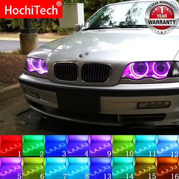 Headlight Multi-color RGB LED Angel Eyes Halo Ring Eye DRL RF Remote Control For BMW E36 E38 E39 E46 Projector 4x131 Accessories image