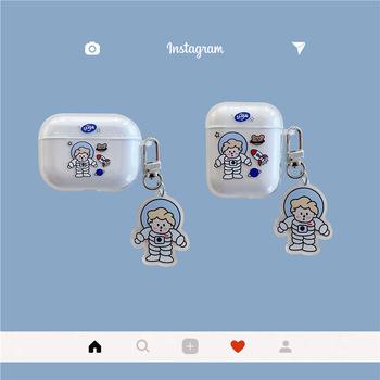 Śliczne kreskówki astronauta przezroczysta skrzynia z PVC dla AirPods 1 2 Pro ochronna bezprzewodowa słuchawka Bluetooth pokrywa skrzynki akcesoria tanie i dobre opinie CN (pochodzenie) Ze stopu cynku moda DE - 372 Unisex Breloczki Silikon Brak Cyfra TRENDY Zgodna ze wszystkimi Same as picture