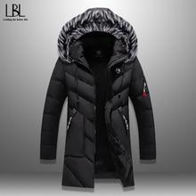 Winter Parka Men's Solid Jacket 2019 New Arrival Thick Warm Coat Long Hooded Jacket Fur Collar Windproof Padded Coat Fashion Men