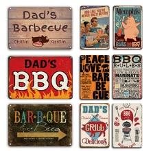 Vintage BBQ ZONE Poster Metal Tin Sign Dad's Barbecue Rules Metal Plaque Sign Decorative Plates Retro Bar Pub Restaurant Decor