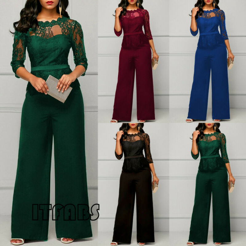 Elegant Women Jumpsuits Long Sleeve Lace Jumpsuit For Women Loose Trousers Wide Leg Pants Solid Black Red Rompers Female Overall