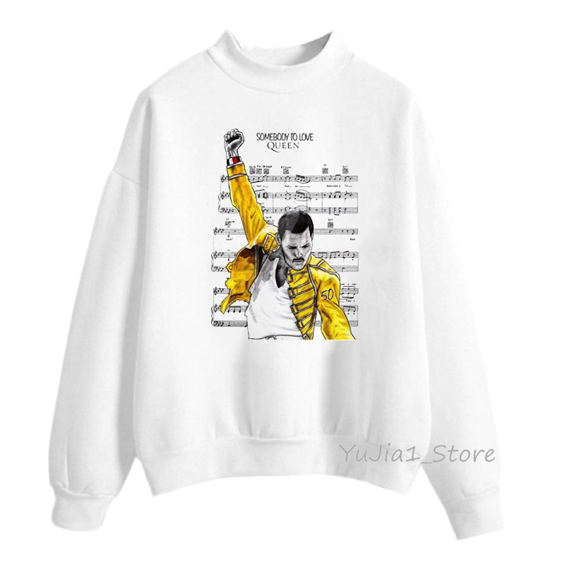 Freddie Mercury Hoodies Women The Queen Band Sweatshirt Hip Hop Retro Rock Hoody Female Autumn Winter Pullover White Hoodie
