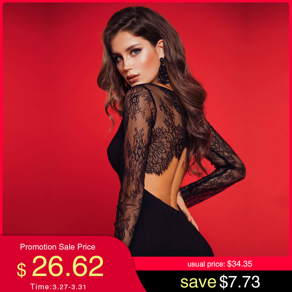 Adyce 2020 New Summer Lace Long Sleeve Bandage Dress Women Sexy Hollow Out Black Club Midi Celebrity Evening Party Dress Vestido