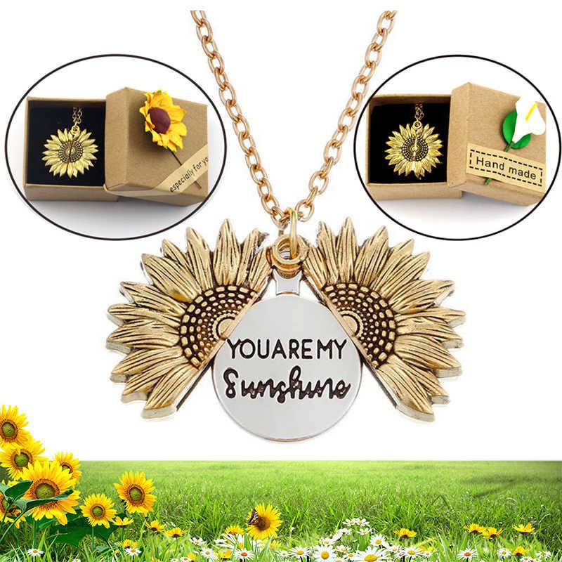 Double face personnalisé colliers vous êtes mon soleil collier ouvert médaillon tournesol pendentif pour les femmes cadeau peut livraison directe gratuite