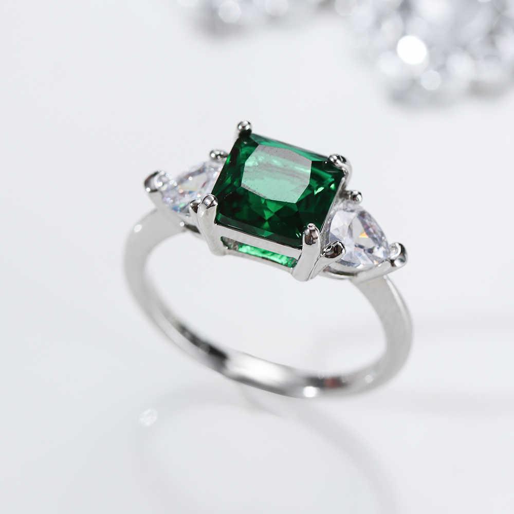 ผู้หญิงแหวนเงินสี VINTAGE เครื่องประดับแหวนตัด ROYAL BLUE Red Elegant สีเขียว OLIVE Zircon แหวน PARTY งานแต่งงานของขวัญ