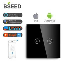 BSEED Light Touch Switch Wifi 2 Gang  Smart Wireless White Black Golden Colors Support For Tuya Google