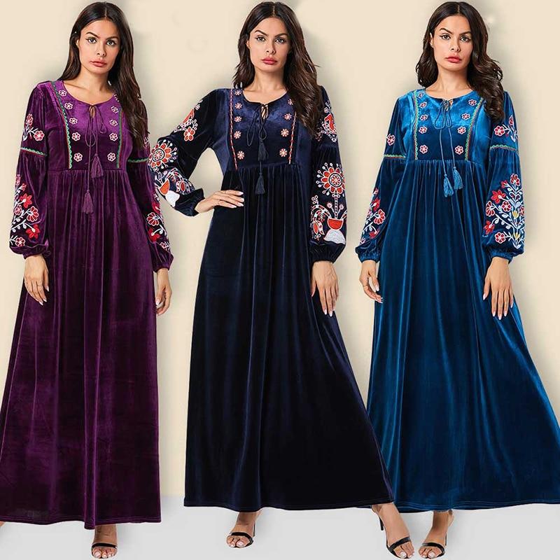 Velvet Abaya Dubai Hijab Muslim Dress Turkish Islamic Clothing Abayas For Women Caftan Kaftan Tesettur Elbise Robe Islam Djelaba