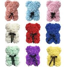 25 см Роза плюшевый медведь цветок розы искусственные украшения День Святого Валентина День Рождения Вечеринка свадебное украшение подарок День Святого Валентина подарок