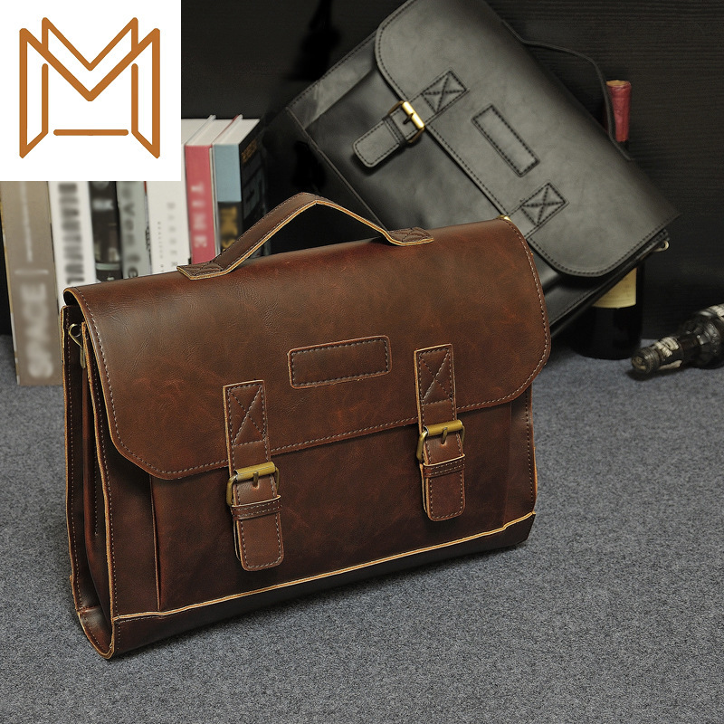 Design Male Package Business Affairs Package Crazy Horsehide Handbag Briefcase Man Classic Single Shoulder Package