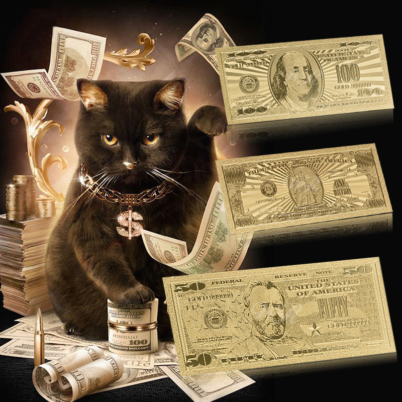 Прямая поставка Новинка USD100 доллар купюр американская золотая фольга банкноты поддельные деньги Банкноты USD реквизит деньги украшение дом...