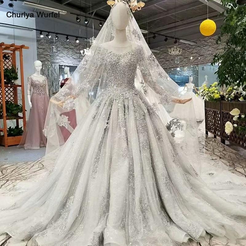 LS74100 dubai mère de mariée brillante robe grise à manches longues o cou long train cristal femmes occasion robe avec voile de haute qualité