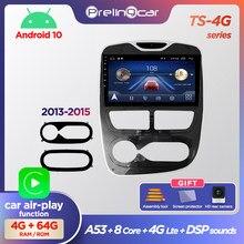Prelingcar android10.0 nenhum dvd 2 din rádio do carro reprodutor de vídeo multimídia navegação gps para renault clio 3 4 2013-2018 octa-core 4g