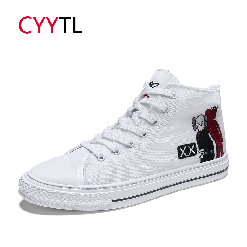 CYYTL 2019 Hot Fashion Men Sneakers High top Canvas White Shoes Cross Stitch Casual Breathable Tenis Masculino Zapatillas Hombre in Men 39 s Casual Shoes from Shoes