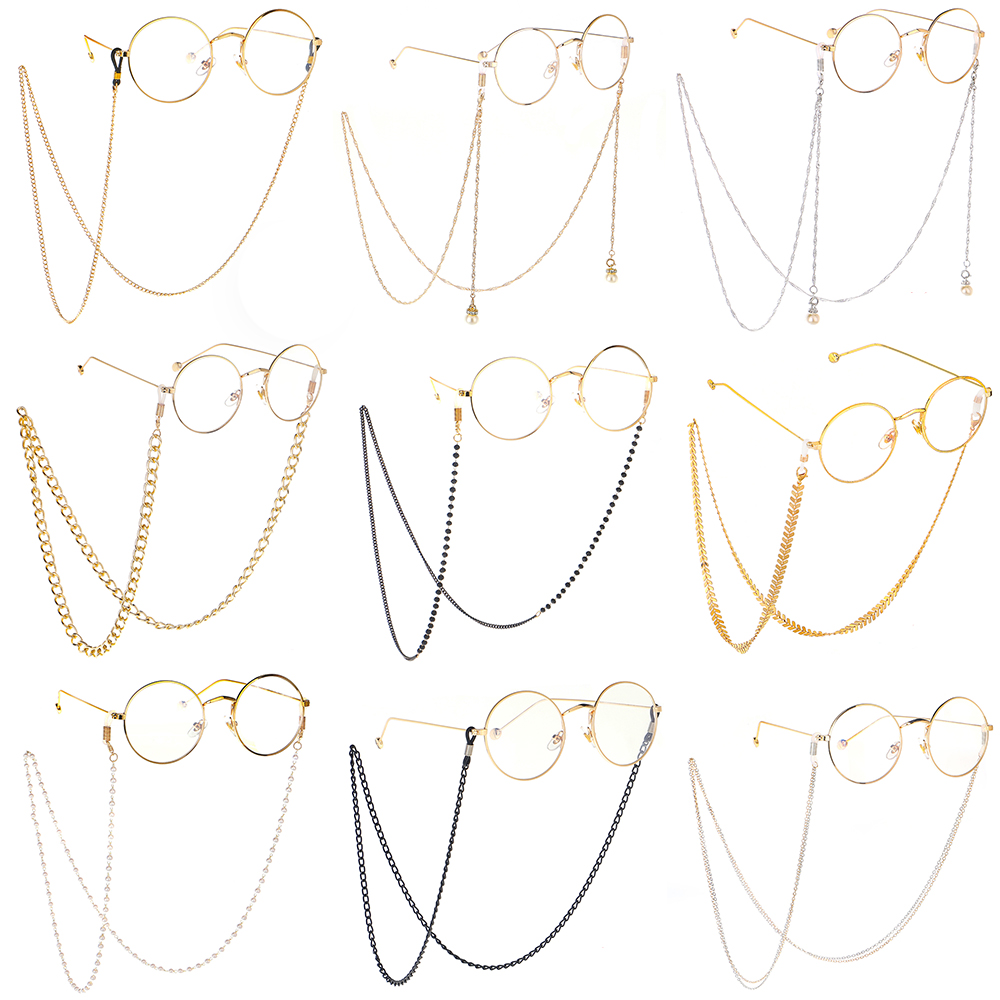 2020 New Gold Metal Fishbone Shape Reading Glasses Chain For Women Men Eyeglass Flat Chain Sunglasses Chains Neck Cord Anti Slip