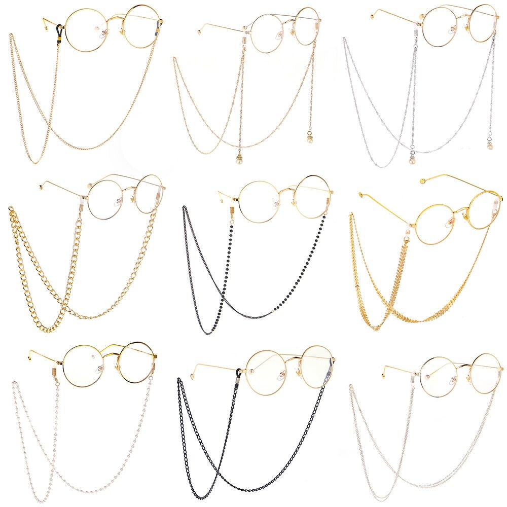 Oro nuevo 2020, forma de espina de pescado, cadena para gafas de lectura para hombres y mujeres, gafas de sol de cadena plana, cadenas de cuello, cordón antideslizante