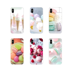 Transparent Soft Cover Bag For Samsung Galaxy A3 A5 A7 A9 A8 Star A6 Plus 2018 2015 2016 2017 dessert ice cream laduree Macarons
