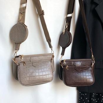 Vintage Crocodile women shoulder bag luxury designer wide strap Crossbody chain Sling pu leather ladies 3 set wallet - discount item  52% OFF Women's Handbags