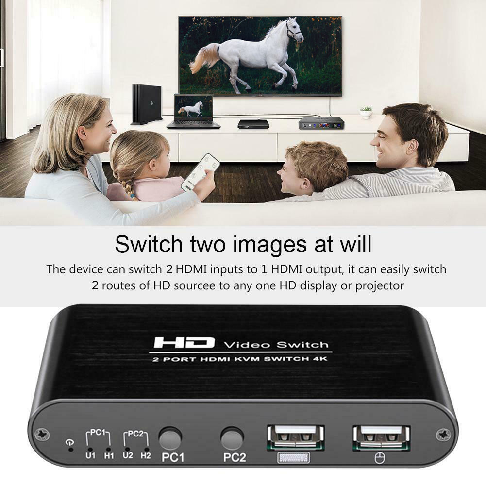 2 Port KVM 4K HDMI Switcher Plug And Play Professional Mini Splitter Keyboard Mouse High Speed Mice For Sharing Monitor Home