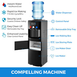Water Dispenser w/ Built-In Ice Maker Top Load Hot & Cold Top Loading Black Home