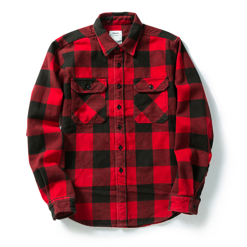 100% cotton heavy weight retro vintage classic red black spring autumn winter long sleeve plaid shirt for men women 4