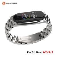 Strap Für Xiaomi Mi Band 6 5 4 3 Edelstahl Metall Opaska Correa Mi Biegen 4 Miband 5 Armbänder Armband globale Version NFC