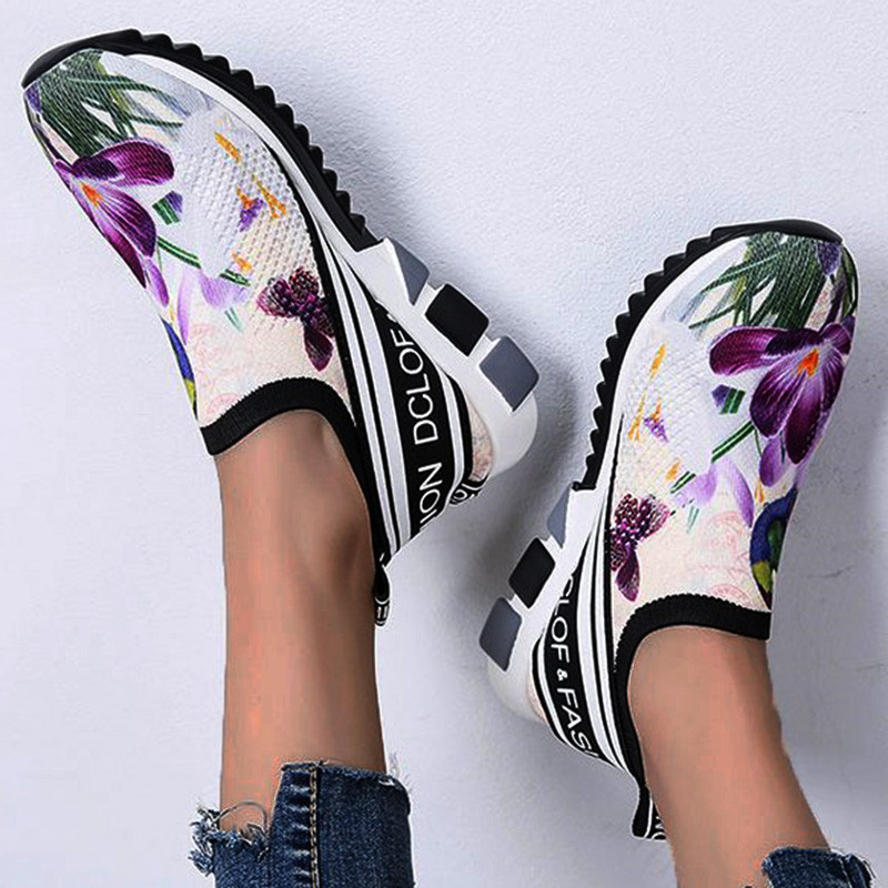 Womens Flower Floral Printed Canvas Shoes