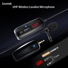 Savetek UHF Lavalier Lapel Wireless Microphone Voice Recorder Microphone Recording Vlog for Smartphone Youtube Cell Phone Pad PC