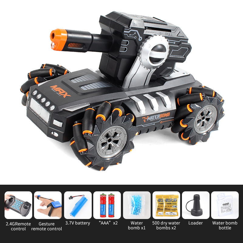 RC Tank Launch Water Bomb 1:16 Simulation 4WD 2.4G Watch Remote Control Car Off Road Vehicle Drift Toy