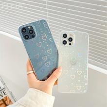 Śliczne Aurora Laser miłość serce telefon pokrywa dla iPhone 11 12 Pro Max X XR XS Max 7 8 plus SE 2020 przezroczysta okładka silikonowe przypadki tanie tanio NoEnName_Null APPLE CN (pochodzenie) Częściowo przysłonięte etui Fashion phone case przezroczyste W stylu rysunkowym