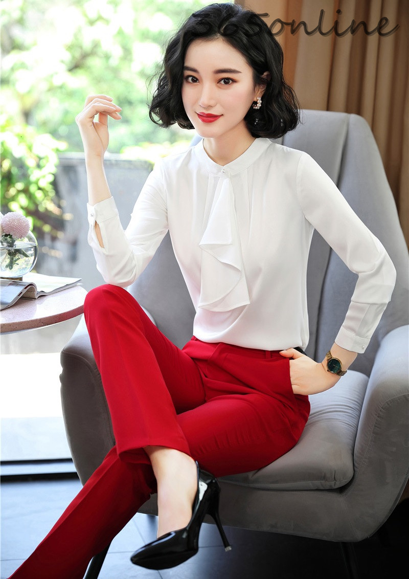 Formal Uniform Designs Pantsuits With 2 Piece Set Pants And Tops For Office Ladies Work Wear Blouses Shirts OL Styles Pantsuits