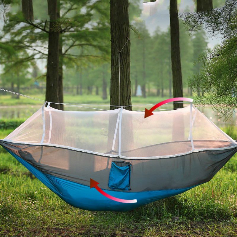 Outdoor Mosquito Net Hammock Double Hamak With Wind Rope Nails Hamac Single Hamaca Ultralight Portable For Camping Travel