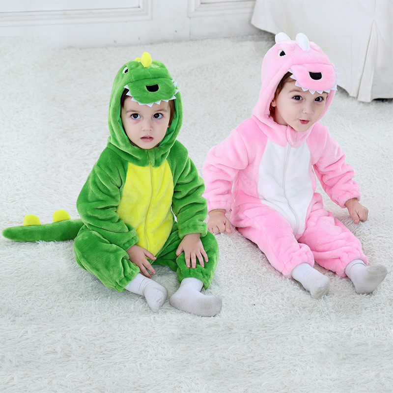 Children's Pajamas Baby Cute Dinosaur Conjoined Pajamas Autumn And Winter Warm Flannel Baby Onesies Children's Romper