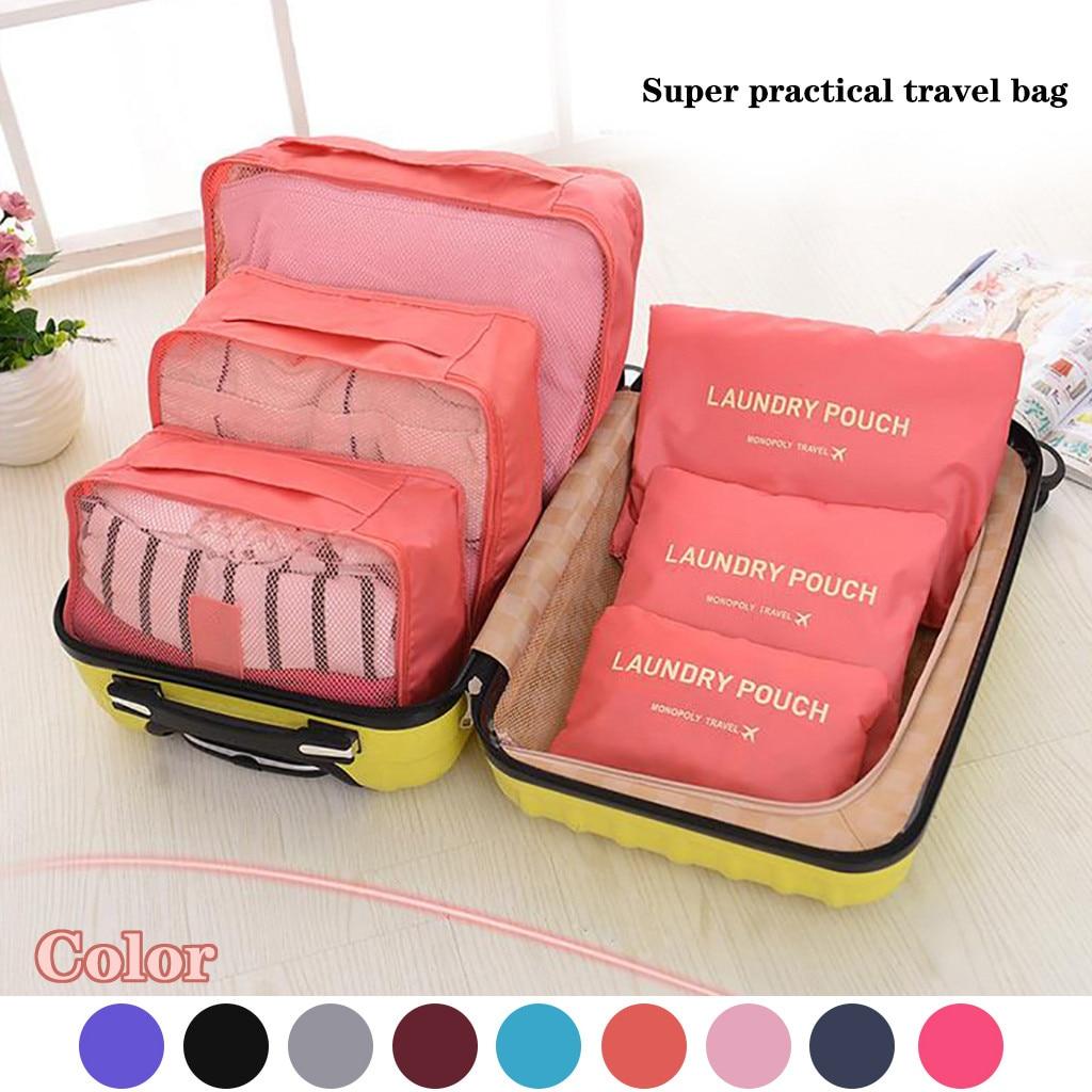 6pc saco de armazenamento de viagem mala organizador de bagagem conjunto saco para roupa interior meias sapatos saco de armazenamento cubos de embalagem do agregado familiar|Sacos de armazenamento|   -