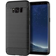 Caso de Telefone de Silicone Para Samsung Galaxy S8 Mais Suave Cobertura de Fibra de Carbono Bumper GalaxyS8 S 8 S8Plus 8 Plus SM g950F G955F SM G950