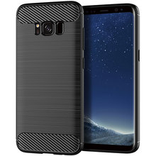 Silikon Telefon samsung kılıfı Galaxy S8 Artı Yumuşak Karbon Fiber Kapak Tampon GalaxyS8 S 8 S8Plus 8 Artı SM G950F G955F SM G950