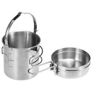 Image 1 - 1L paslanmaz çelik pişirme su isıtıcısı taşınabilir açık kamp sırt çantası tencere katlanabilir kolu