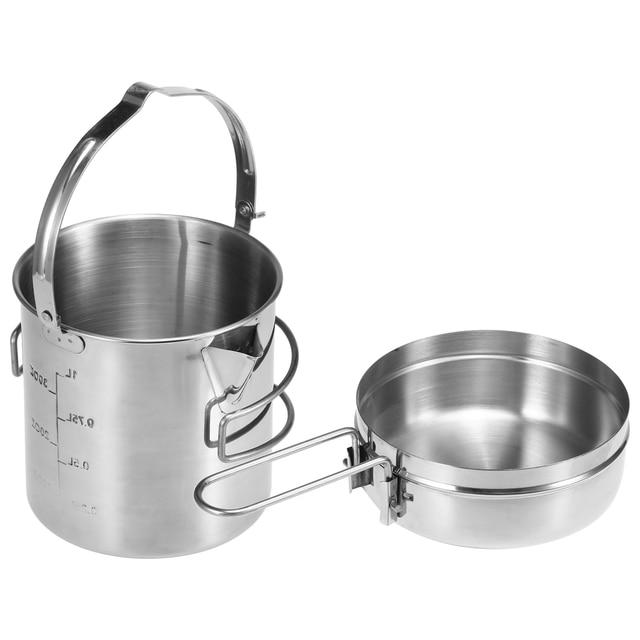 Pot de sac à dos de Camping extérieur portatif de bouilloire de cuisson dacier inoxydable de 1L avec la poignée pliable